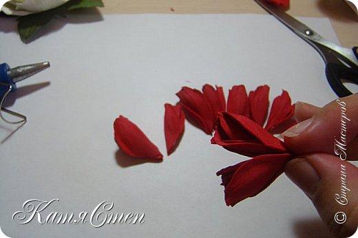 Предлагаю Вашему вниманию мой вариант создания пионовидной розы.  Материалы: 1. Фоамиран  2-х цветов - для розы и зеленый для листьев (я использовала иранский). 2. Термо-клей или супер-клей. 3. Молд листа розы (хотя можно и без него...). 4. Ножницы. 5. Губка для посуды. 6. Округлый предмет\булька - у меня шарик от светильника))). 7. Утюг. 8. Краска для тонировки листьев - акрил, пастель сухая или масляная.  9. Лак акриловый (по желанию или наличию))).   фото 24