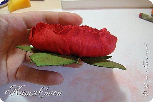 Предлагаю Вашему вниманию мой вариант создания пионовидной розы.  Материалы: 1. Фоамиран  2-х цветов - для розы и зеленый для листьев (я использовала иранский). 2. Термо-клей или супер-клей. 3. Молд листа розы (хотя можно и без него...). 4. Ножницы. 5. Губка для посуды. 6. Округлый предмет\булька - у меня шарик от светильника))). 7. Утюг. 8. Краска для тонировки листьев - акрил, пастель сухая или масляная.  9. Лак акриловый (по желанию или наличию))).   фото 49