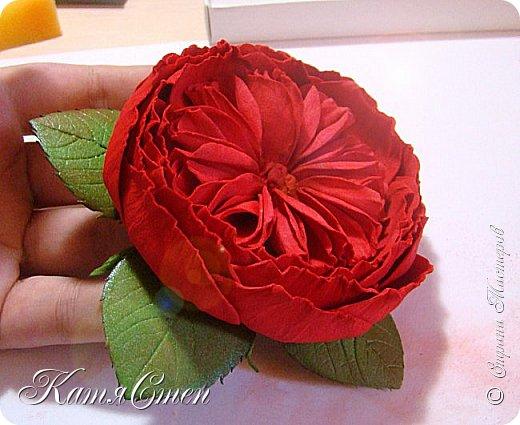 Предлагаю Вашему вниманию мой вариант создания пионовидной розы.  Материалы: 1. Фоамиран  2-х цветов - для розы и зеленый для листьев (я использовала иранский). 2. Термо-клей или супер-клей. 3. Молд листа розы (хотя можно и без него...). 4. Ножницы. 5. Губка для посуды. 6. Округлый предмет\булька - у меня шарик от светильника))). 7. Утюг. 8. Краска для тонировки листьев - акрил, пастель сухая или масляная.  9. Лак акриловый (по желанию или наличию))).   фото 48