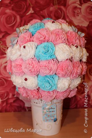 Цветочная композиция в горшочке с использованием трех цветов, бабочек и бусин  фото 11
