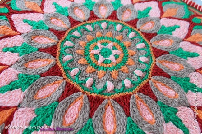 "Коврик"" Георгин "", связан в технике Overlay Crochet, размер 72 см, нитки акрил, мастер класс тут http://www.liveinternet.ru/users/5915568/post388641388/# фото 2"