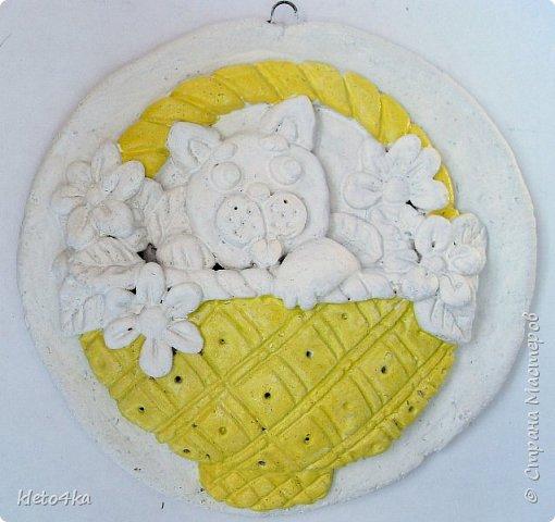 Круглое панно с котиком и цветами фото 3
