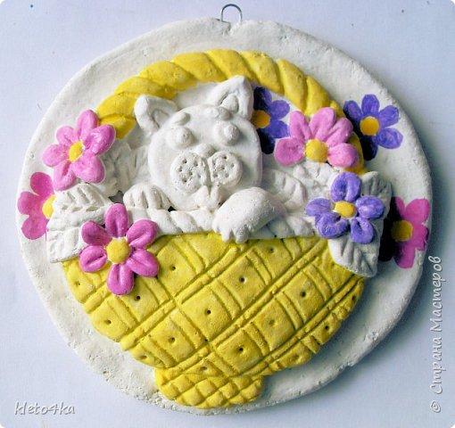 Круглое панно с котиком и цветами фото 5