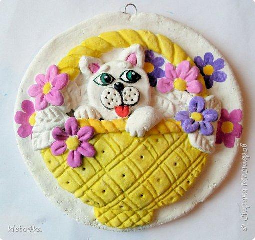 Круглое панно с котиком и цветами фото 6