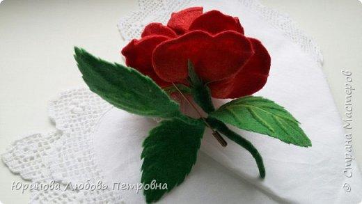 Роза. Брошь. Шерсть. фото 3