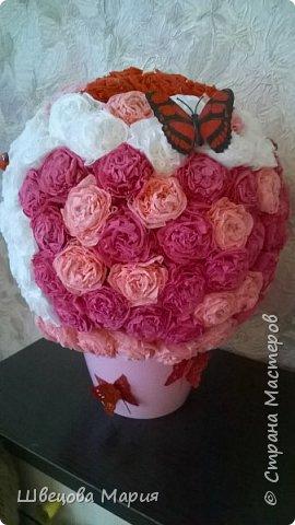 Цветочная композиция в горшочке с использованием трех цветов, бабочек и бусин  фото 20