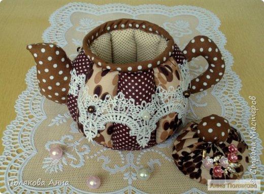 """Текстильный чайник """"Нежный"""" станет замечательным подарком, послужит шкатулочкой для чайных пакетов, конфеток, бижутерии или других мелочей, а также может быть необычной упаковкой для небольшого подарка. фото 6"""