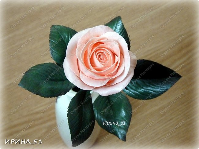 """Приветствую всех жителей Страны Мастеров. Сегодня я к  Вам с очередной порцией цветов из фома.  Без лишних слов приглашаю к просмотру.  Роза  """"Peach Avalanche"""" (Пич Аваланж) фото 11"""