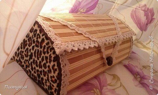 Шкатулка из бамбуковой салфетки. фото 2