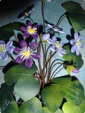 """Здравствуйте, дорогие мои друзья! Как и обещала, подготовила для вас в подарок МК по созданию нежного весеннего цветочка печёночницы, который был одной из частей триптиха """"Весенние цветы"""". http://stranamasterov.ru/node/1018985  Работа очень несложная, поэтому будет по силам даже начинающим мастерицам.  фото 14"""