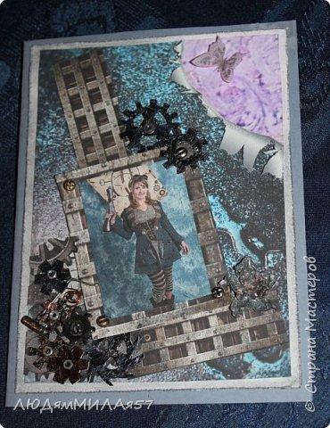 Всем здравствуйте!Вот такую открытку я сделала в прошлом году,а вспомнила о ней и решила показать вам,т.к. моя коллега,тоже очень творческий человек,призналась.что ей нравится эта открытка и стиль Стимпанк и хочется ей обложечку на паспорт в похожем стиле.Сотворила я обложку и решила вам показать её и открытку-вдохновительницу заодно. фото 1