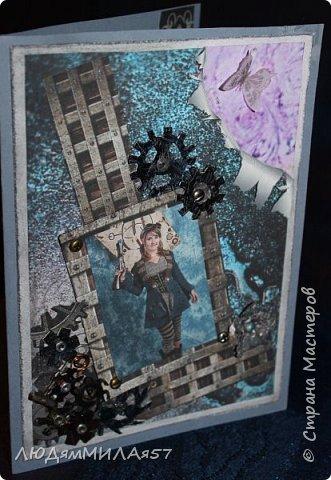 Всем здравствуйте!Вот такую открытку я сделала в прошлом году,а вспомнила о ней и решила показать вам,т.к. моя коллега,тоже очень творческий человек,призналась.что ей нравится эта открытка и стиль Стимпанк и хочется ей обложечку на паспорт в похожем стиле.Сотворила я обложку и решила вам показать её и открытку-вдохновительницу заодно. фото 6