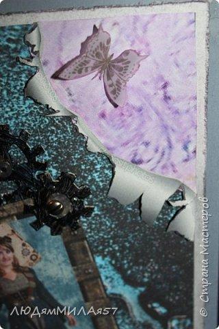 Всем здравствуйте!Вот такую открытку я сделала в прошлом году,а вспомнила о ней и решила показать вам,т.к. моя коллега,тоже очень творческий человек,призналась.что ей нравится эта открытка и стиль Стимпанк и хочется ей обложечку на паспорт в похожем стиле.Сотворила я обложку и решила вам показать её и открытку-вдохновительницу заодно. фото 5