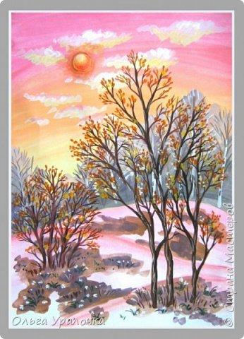Вот и пришла весна. Весна – это время пробуждения природы от долгой зимней спячки. Теплые лучи солнца съедают последние россыпи снега. Под деревьями и в поле зазвенели веселые ручейки. Набухшие почки наполняют воздух упоительным ароматом.   Из-под талого снега пробивается зеленая травка. В проталинах появились первые весенние цветы .   Весна идет, всевластная царица! Журчат ручьи, ломают реки лед, И к нам в окошко, вербою стучится И птичий стаей режет небосвод.  Уже звенят весенние капели, И воздух полон запахом весны, Забыты ныне злобные метели, И солнца греют жаркие лучи.  Среди проталин и сухих травинок, На горке где зимой катались мы, Среди камней, среди грязи и льдинок. Расцвел подснежник, как слеза зимы.                                                       /Дьякова О.С. - Ольга Уралочка/  Вот и мне хочется предложить вашему вниманию МК весенний пейзаж. Работа может быть выполнении как людьми с опытом рисования, так и новичками . Поэтапное рисование- поможет избежать затруднений свойственных новичкам. Работа выполняется без предварительного рисунка. Нам понадобятся: гуашь ватман формата А-3. , нейлоновые кисти под номерами 2 , 3 ,5.  фото 27