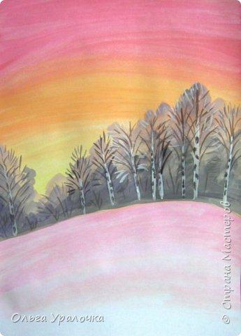 Вот и пришла весна. Весна – это время пробуждения природы от долгой зимней спячки. Теплые лучи солнца съедают последние россыпи снега. Под деревьями и в поле зазвенели веселые ручейки. Набухшие почки наполняют воздух упоительным ароматом.   Из-под талого снега пробивается зеленая травка. В проталинах появились первые весенние цветы .   Весна идет, всевластная царица! Журчат ручьи, ломают реки лед, И к нам в окошко, вербою стучится И птичий стаей режет небосвод.  Уже звенят весенние капели, И воздух полон запахом весны, Забыты ныне злобные метели, И солнца греют жаркие лучи.  Среди проталин и сухих травинок, На горке где зимой катались мы, Среди камней, среди грязи и льдинок. Расцвел подснежник, как слеза зимы.                                                       /Дьякова О.С. - Ольга Уралочка/  Вот и мне хочется предложить вашему вниманию МК весенний пейзаж. Работа может быть выполнении как людьми с опытом рисования, так и новичками . Поэтапное рисование- поможет избежать затруднений свойственных новичкам. Работа выполняется без предварительного рисунка. Нам понадобятся: гуашь ватман формата А-3. , нейлоновые кисти под номерами 2 , 3 ,5.  фото 11
