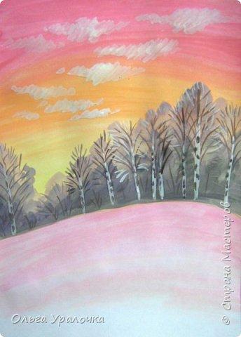 Вот и пришла весна. Весна – это время пробуждения природы от долгой зимней спячки. Теплые лучи солнца съедают последние россыпи снега. Под деревьями и в поле зазвенели веселые ручейки. Набухшие почки наполняют воздух упоительным ароматом.   Из-под талого снега пробивается зеленая травка. В проталинах появились первые весенние цветы .   Весна идет, всевластная царица! Журчат ручьи, ломают реки лед, И к нам в окошко, вербою стучится И птичий стаей режет небосвод.  Уже звенят весенние капели, И воздух полон запахом весны, Забыты ныне злобные метели, И солнца греют жаркие лучи.  Среди проталин и сухих травинок, На горке где зимой катались мы, Среди камней, среди грязи и льдинок. Расцвел подснежник, как слеза зимы.                                                       /Дьякова О.С. - Ольга Уралочка/  Вот и мне хочется предложить вашему вниманию МК весенний пейзаж. Работа может быть выполнении как людьми с опытом рисования, так и новичками . Поэтапное рисование- поможет избежать затруднений свойственных новичкам. Работа выполняется без предварительного рисунка. Нам понадобятся: гуашь ватман формата А-3. , нейлоновые кисти под номерами 2 , 3 ,5.  фото 12