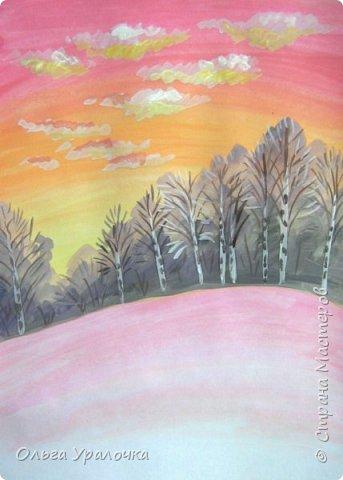 Вот и пришла весна. Весна – это время пробуждения природы от долгой зимней спячки. Теплые лучи солнца съедают последние россыпи снега. Под деревьями и в поле зазвенели веселые ручейки. Набухшие почки наполняют воздух упоительным ароматом.   Из-под талого снега пробивается зеленая травка. В проталинах появились первые весенние цветы .   Весна идет, всевластная царица! Журчат ручьи, ломают реки лед, И к нам в окошко, вербою стучится И птичий стаей режет небосвод.  Уже звенят весенние капели, И воздух полон запахом весны, Забыты ныне злобные метели, И солнца греют жаркие лучи.  Среди проталин и сухих травинок, На горке где зимой катались мы, Среди камней, среди грязи и льдинок. Расцвел подснежник, как слеза зимы.                                                       /Дьякова О.С. - Ольга Уралочка/  Вот и мне хочется предложить вашему вниманию МК весенний пейзаж. Работа может быть выполнении как людьми с опытом рисования, так и новичками . Поэтапное рисование- поможет избежать затруднений свойственных новичкам. Работа выполняется без предварительного рисунка. Нам понадобятся: гуашь ватман формата А-3. , нейлоновые кисти под номерами 2 , 3 ,5.  фото 13