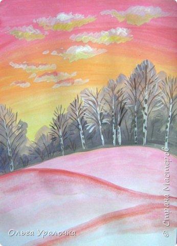 Вот и пришла весна. Весна – это время пробуждения природы от долгой зимней спячки. Теплые лучи солнца съедают последние россыпи снега. Под деревьями и в поле зазвенели веселые ручейки. Набухшие почки наполняют воздух упоительным ароматом.   Из-под талого снега пробивается зеленая травка. В проталинах появились первые весенние цветы .   Весна идет, всевластная царица! Журчат ручьи, ломают реки лед, И к нам в окошко, вербою стучится И птичий стаей режет небосвод.  Уже звенят весенние капели, И воздух полон запахом весны, Забыты ныне злобные метели, И солнца греют жаркие лучи.  Среди проталин и сухих травинок, На горке где зимой катались мы, Среди камней, среди грязи и льдинок. Расцвел подснежник, как слеза зимы.                                                       /Дьякова О.С. - Ольга Уралочка/  Вот и мне хочется предложить вашему вниманию МК весенний пейзаж. Работа может быть выполнении как людьми с опытом рисования, так и новичками . Поэтапное рисование- поможет избежать затруднений свойственных новичкам. Работа выполняется без предварительного рисунка. Нам понадобятся: гуашь ватман формата А-3. , нейлоновые кисти под номерами 2 , 3 ,5.  фото 14