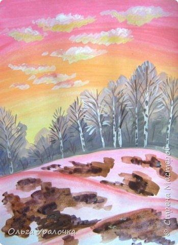 Вот и пришла весна. Весна – это время пробуждения природы от долгой зимней спячки. Теплые лучи солнца съедают последние россыпи снега. Под деревьями и в поле зазвенели веселые ручейки. Набухшие почки наполняют воздух упоительным ароматом.   Из-под талого снега пробивается зеленая травка. В проталинах появились первые весенние цветы .   Весна идет, всевластная царица! Журчат ручьи, ломают реки лед, И к нам в окошко, вербою стучится И птичий стаей режет небосвод.  Уже звенят весенние капели, И воздух полон запахом весны, Забыты ныне злобные метели, И солнца греют жаркие лучи.  Среди проталин и сухих травинок, На горке где зимой катались мы, Среди камней, среди грязи и льдинок. Расцвел подснежник, как слеза зимы.                                                       /Дьякова О.С. - Ольга Уралочка/  Вот и мне хочется предложить вашему вниманию МК весенний пейзаж. Работа может быть выполнении как людьми с опытом рисования, так и новичками . Поэтапное рисование- поможет избежать затруднений свойственных новичкам. Работа выполняется без предварительного рисунка. Нам понадобятся: гуашь ватман формата А-3. , нейлоновые кисти под номерами 2 , 3 ,5.  фото 15