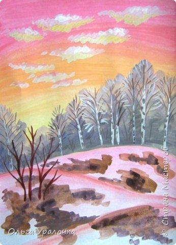Вот и пришла весна. Весна – это время пробуждения природы от долгой зимней спячки. Теплые лучи солнца съедают последние россыпи снега. Под деревьями и в поле зазвенели веселые ручейки. Набухшие почки наполняют воздух упоительным ароматом.   Из-под талого снега пробивается зеленая травка. В проталинах появились первые весенние цветы .   Весна идет, всевластная царица! Журчат ручьи, ломают реки лед, И к нам в окошко, вербою стучится И птичий стаей режет небосвод.  Уже звенят весенние капели, И воздух полон запахом весны, Забыты ныне злобные метели, И солнца греют жаркие лучи.  Среди проталин и сухих травинок, На горке где зимой катались мы, Среди камней, среди грязи и льдинок. Расцвел подснежник, как слеза зимы.                                                       /Дьякова О.С. - Ольга Уралочка/  Вот и мне хочется предложить вашему вниманию МК весенний пейзаж. Работа может быть выполнении как людьми с опытом рисования, так и новичками . Поэтапное рисование- поможет избежать затруднений свойственных новичкам. Работа выполняется без предварительного рисунка. Нам понадобятся: гуашь ватман формата А-3. , нейлоновые кисти под номерами 2 , 3 ,5.  фото 16