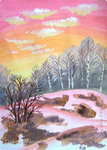 Вот и пришла весна. Весна – это время пробуждения природы от долгой зимней спячки. Теплые лучи солнца съедают последние россыпи снега. Под деревьями и в поле зазвенели веселые ручейки. Набухшие почки наполняют воздух упоительным ароматом.   Из-под талого снега пробивается зеленая травка. В проталинах появились первые весенние цветы .   Весна идет, всевластная царица! Журчат ручьи, ломают реки лед, И к нам в окошко, вербою стучится И птичий стаей режет небосвод.  Уже звенят весенние капели, И воздух полон запахом весны, Забыты ныне злобные метели, И солнца греют жаркие лучи.  Среди проталин и сухих травинок, На горке где зимой катались мы, Среди камней, среди грязи и льдинок. Расцвел подснежник, как слеза зимы.                                                       /Дьякова О.С. - Ольга Уралочка/  Вот и мне хочется предложить вашему вниманию МК весенний пейзаж. Работа может быть выполнении как людьми с опытом рисования, так и новичками . Поэтапное рисование- поможет избежать затруднений свойственных новичкам. Работа выполняется без предварительного рисунка. Нам понадобятся: гуашь ватман формата А-3. , нейлоновые кисти под номерами 2 , 3 ,5.  фото 17