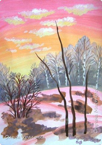 Вот и пришла весна. Весна – это время пробуждения природы от долгой зимней спячки. Теплые лучи солнца съедают последние россыпи снега. Под деревьями и в поле зазвенели веселые ручейки. Набухшие почки наполняют воздух упоительным ароматом.   Из-под талого снега пробивается зеленая травка. В проталинах появились первые весенние цветы .   Весна идет, всевластная царица! Журчат ручьи, ломают реки лед, И к нам в окошко, вербою стучится И птичий стаей режет небосвод.  Уже звенят весенние капели, И воздух полон запахом весны, Забыты ныне злобные метели, И солнца греют жаркие лучи.  Среди проталин и сухих травинок, На горке где зимой катались мы, Среди камней, среди грязи и льдинок. Расцвел подснежник, как слеза зимы.                                                       /Дьякова О.С. - Ольга Уралочка/  Вот и мне хочется предложить вашему вниманию МК весенний пейзаж. Работа может быть выполнении как людьми с опытом рисования, так и новичками . Поэтапное рисование- поможет избежать затруднений свойственных новичкам. Работа выполняется без предварительного рисунка. Нам понадобятся: гуашь ватман формата А-3. , нейлоновые кисти под номерами 2 , 3 ,5.  фото 18