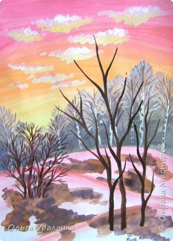 Вот и пришла весна. Весна – это время пробуждения природы от долгой зимней спячки. Теплые лучи солнца съедают последние россыпи снега. Под деревьями и в поле зазвенели веселые ручейки. Набухшие почки наполняют воздух упоительным ароматом.   Из-под талого снега пробивается зеленая травка. В проталинах появились первые весенние цветы .   Весна идет, всевластная царица! Журчат ручьи, ломают реки лед, И к нам в окошко, вербою стучится И птичий стаей режет небосвод.  Уже звенят весенние капели, И воздух полон запахом весны, Забыты ныне злобные метели, И солнца греют жаркие лучи.  Среди проталин и сухих травинок, На горке где зимой катались мы, Среди камней, среди грязи и льдинок. Расцвел подснежник, как слеза зимы.                                                       /Дьякова О.С. - Ольга Уралочка/  Вот и мне хочется предложить вашему вниманию МК весенний пейзаж. Работа может быть выполнении как людьми с опытом рисования, так и новичками . Поэтапное рисование- поможет избежать затруднений свойственных новичкам. Работа выполняется без предварительного рисунка. Нам понадобятся: гуашь ватман формата А-3. , нейлоновые кисти под номерами 2 , 3 ,5.  фото 19