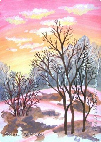 Вот и пришла весна. Весна – это время пробуждения природы от долгой зимней спячки. Теплые лучи солнца съедают последние россыпи снега. Под деревьями и в поле зазвенели веселые ручейки. Набухшие почки наполняют воздух упоительным ароматом.   Из-под талого снега пробивается зеленая травка. В проталинах появились первые весенние цветы .   Весна идет, всевластная царица! Журчат ручьи, ломают реки лед, И к нам в окошко, вербою стучится И птичий стаей режет небосвод.  Уже звенят весенние капели, И воздух полон запахом весны, Забыты ныне злобные метели, И солнца греют жаркие лучи.  Среди проталин и сухих травинок, На горке где зимой катались мы, Среди камней, среди грязи и льдинок. Расцвел подснежник, как слеза зимы.                                                       /Дьякова О.С. - Ольга Уралочка/  Вот и мне хочется предложить вашему вниманию МК весенний пейзаж. Работа может быть выполнении как людьми с опытом рисования, так и новичками . Поэтапное рисование- поможет избежать затруднений свойственных новичкам. Работа выполняется без предварительного рисунка. Нам понадобятся: гуашь ватман формата А-3. , нейлоновые кисти под номерами 2 , 3 ,5.  фото 20