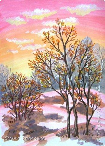 Вот и пришла весна. Весна – это время пробуждения природы от долгой зимней спячки. Теплые лучи солнца съедают последние россыпи снега. Под деревьями и в поле зазвенели веселые ручейки. Набухшие почки наполняют воздух упоительным ароматом.   Из-под талого снега пробивается зеленая травка. В проталинах появились первые весенние цветы .   Весна идет, всевластная царица! Журчат ручьи, ломают реки лед, И к нам в окошко, вербою стучится И птичий стаей режет небосвод.  Уже звенят весенние капели, И воздух полон запахом весны, Забыты ныне злобные метели, И солнца греют жаркие лучи.  Среди проталин и сухих травинок, На горке где зимой катались мы, Среди камней, среди грязи и льдинок. Расцвел подснежник, как слеза зимы.                                                       /Дьякова О.С. - Ольга Уралочка/  Вот и мне хочется предложить вашему вниманию МК весенний пейзаж. Работа может быть выполнении как людьми с опытом рисования, так и новичками . Поэтапное рисование- поможет избежать затруднений свойственных новичкам. Работа выполняется без предварительного рисунка. Нам понадобятся: гуашь ватман формата А-3. , нейлоновые кисти под номерами 2 , 3 ,5.  фото 23