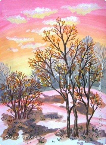 Вот и пришла весна. Весна – это время пробуждения природы от долгой зимней спячки. Теплые лучи солнца съедают последние россыпи снега. Под деревьями и в поле зазвенели веселые ручейки. Набухшие почки наполняют воздух упоительным ароматом.   Из-под талого снега пробивается зеленая травка. В проталинах появились первые весенние цветы .   Весна идет, всевластная царица! Журчат ручьи, ломают реки лед, И к нам в окошко, вербою стучится И птичий стаей режет небосвод.  Уже звенят весенние капели, И воздух полон запахом весны, Забыты ныне злобные метели, И солнца греют жаркие лучи.  Среди проталин и сухих травинок, На горке где зимой катались мы, Среди камней, среди грязи и льдинок. Расцвел подснежник, как слеза зимы.                                                       /Дьякова О.С. - Ольга Уралочка/  Вот и мне хочется предложить вашему вниманию МК весенний пейзаж. Работа может быть выполнении как людьми с опытом рисования, так и новичками . Поэтапное рисование- поможет избежать затруднений свойственных новичкам. Работа выполняется без предварительного рисунка. Нам понадобятся: гуашь ватман формата А-3. , нейлоновые кисти под номерами 2 , 3 ,5.  фото 24