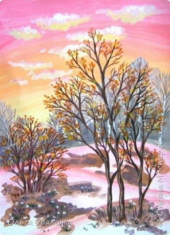 Вот и пришла весна. Весна – это время пробуждения природы от долгой зимней спячки. Теплые лучи солнца съедают последние россыпи снега. Под деревьями и в поле зазвенели веселые ручейки. Набухшие почки наполняют воздух упоительным ароматом.   Из-под талого снега пробивается зеленая травка. В проталинах появились первые весенние цветы .   Весна идет, всевластная царица! Журчат ручьи, ломают реки лед, И к нам в окошко, вербою стучится И птичий стаей режет небосвод.  Уже звенят весенние капели, И воздух полон запахом весны, Забыты ныне злобные метели, И солнца греют жаркие лучи.  Среди проталин и сухих травинок, На горке где зимой катались мы, Среди камней, среди грязи и льдинок. Расцвел подснежник, как слеза зимы.                                                       /Дьякова О.С. - Ольга Уралочка/  Вот и мне хочется предложить вашему вниманию МК весенний пейзаж. Работа может быть выполнении как людьми с опытом рисования, так и новичками . Поэтапное рисование- поможет избежать затруднений свойственных новичкам. Работа выполняется без предварительного рисунка. Нам понадобятся: гуашь ватман формата А-3. , нейлоновые кисти под номерами 2 , 3 ,5.  фото 25