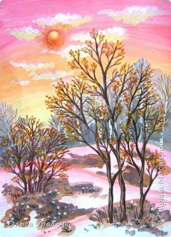 Вот и пришла весна. Весна – это время пробуждения природы от долгой зимней спячки. Теплые лучи солнца съедают последние россыпи снега. Под деревьями и в поле зазвенели веселые ручейки. Набухшие почки наполняют воздух упоительным ароматом.   Из-под талого снега пробивается зеленая травка. В проталинах появились первые весенние цветы .   Весна идет, всевластная царица! Журчат ручьи, ломают реки лед, И к нам в окошко, вербою стучится И птичий стаей режет небосвод.  Уже звенят весенние капели, И воздух полон запахом весны, Забыты ныне злобные метели, И солнца греют жаркие лучи.  Среди проталин и сухих травинок, На горке где зимой катались мы, Среди камней, среди грязи и льдинок. Расцвел подснежник, как слеза зимы.                                                       /Дьякова О.С. - Ольга Уралочка/  Вот и мне хочется предложить вашему вниманию МК весенний пейзаж. Работа может быть выполнении как людьми с опытом рисования, так и новичками . Поэтапное рисование- поможет избежать затруднений свойственных новичкам. Работа выполняется без предварительного рисунка. Нам понадобятся: гуашь ватман формата А-3. , нейлоновые кисти под номерами 2 , 3 ,5.  фото 26