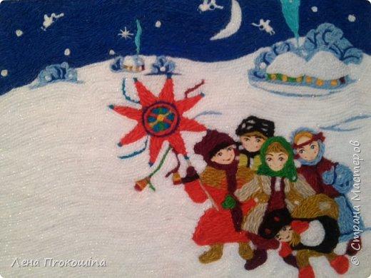 Рождество.(ниткография,работа полностью выложена нитками,кроме лиц детишек) фото 2