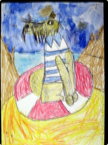 С учениками  (5-6 лет) рисовали кошек и собак разными материалами, вот результаты нашего творчества.  Первая работа моя, дальше детские, использовали для работы гуашь, шторы отпечатывали подложкой от продуктовой нарезки, произвольно рисовали на ней линии, наносили краску и делали отпечаток (можно использовать кусочки тюли или кружева). фото 21