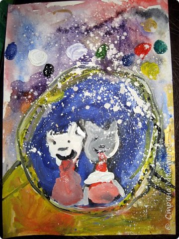 С учениками  (5-6 лет) рисовали кошек и собак разными материалами, вот результаты нашего творчества.  Первая работа моя, дальше детские, использовали для работы гуашь, шторы отпечатывали подложкой от продуктовой нарезки, произвольно рисовали на ней линии, наносили краску и делали отпечаток (можно использовать кусочки тюли или кружева). фото 28