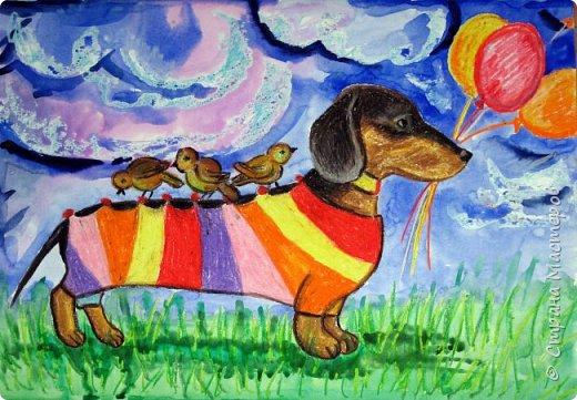 С учениками  (5-6 лет) рисовали кошек и собак разными материалами, вот результаты нашего творчества.  Первая работа моя, дальше детские, использовали для работы гуашь, шторы отпечатывали подложкой от продуктовой нарезки, произвольно рисовали на ней линии, наносили краску и делали отпечаток (можно использовать кусочки тюли или кружева). фото 22