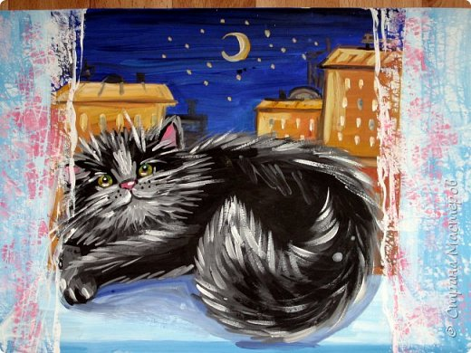 С учениками  (5-6 лет) рисовали кошек и собак разными материалами, вот результаты нашего творчества.  Первая работа моя, дальше детские, использовали для работы гуашь, шторы отпечатывали подложкой от продуктовой нарезки, произвольно рисовали на ней линии, наносили краску и делали отпечаток (можно использовать кусочки тюли или кружева). фото 1
