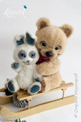 Медвежонок Медовые ушки и зайчонок Иней. Тедди фото 13