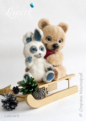 Медвежонок Медовые ушки и зайчонок Иней. Тедди фото 1