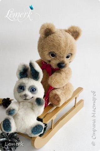 Медвежонок Медовые ушки и зайчонок Иней. Тедди фото 14