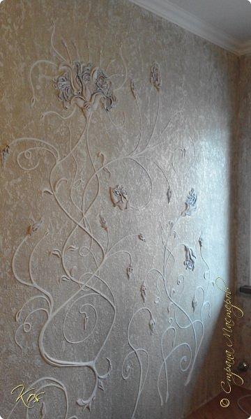 На стене декоративная штукатурка ЛЕОНАРДО! Небольшой барельефчик в виде цветок-узор! фото 1