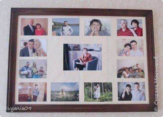 Всем-всем, здравствуйте! Моей бабушке недавно исполнилось 83 года. Она все просила на стену большую рамку, а в ней чтоб были фотографии... Однако мы не спешили, с выполнением ее просьбы. Я так вообще считала это очень старомодным. Однако, бабушка моя весьма настойчивая - она сама нашла раму из-под какой-то уже испорченной картины... Тогда пришлось брать все в свои руки... Немного отреставрировав раму, на фанеру приклеила обои нейтрального цвета... в центр поместила фотографию самой бабушки, над ней мы - внуки, я и мой двоюродный брат. Рядом с нами соответственно наши родители - дочери нашей бабушки с мужьями, чуть ниже мы с братом с нашими вторыми половинками! Еще чуть ниже уже наши дети - соответственно правнуки нашей бабушки... И когда я это сделала, то подумала, что ничуть это и не старомодно, а даже в какой-то степени напоминает родословное дерево!