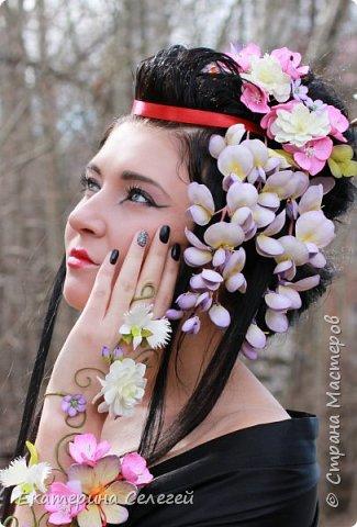 ну вот и мой финальный проект для флешмоба фоамиран перезагрузка!украшения для гейши из фоамирана фото 1