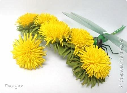 Всем доброго дня!!!  Решила выставить все цветочки сделанные за последнее время)))) одуванчики - заколка и колечко фото 1