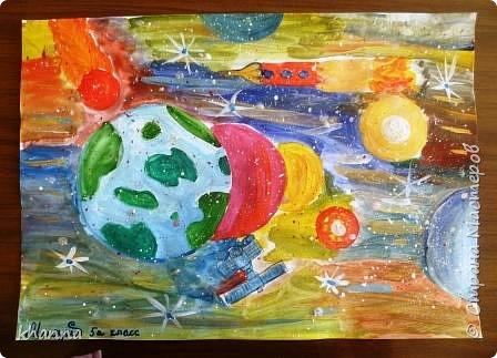 автор работы: Миляуша, ученица 5 класса. Планеты готовятся к параду. фото 1