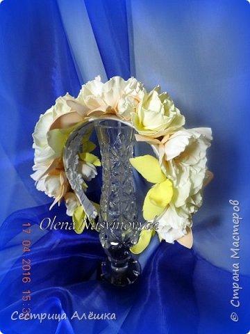 Доброго времени суток!!!  Ободок с нежными розами и фантазийными цветами сделан на заказ. фото 2