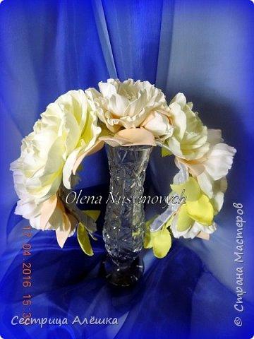 Доброго времени суток!!!  Ободок с нежными розами и фантазийными цветами сделан на заказ. фото 1