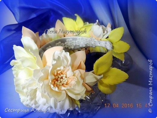 Доброго времени суток!!!  Ободок с нежными розами и фантазийными цветами сделан на заказ. фото 4