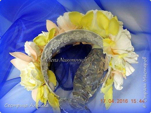 Доброго времени суток!!!  Ободок с нежными розами и фантазийными цветами сделан на заказ. фото 5
