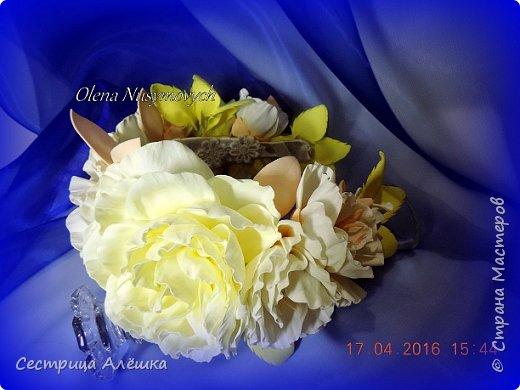 Доброго времени суток!!!  Ободок с нежными розами и фантазийными цветами сделан на заказ. фото 6